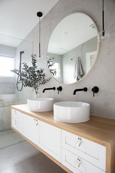 ALL TIME BEST Bathroom vanity ideas for big or small bathroom. Including pictures gallery of vanity and bathroom mirror that popular in and 2019 Timber Bathroom Vanities, Bathroom Mirror Design, Timber Vanity, Bathroom Trends, Modern Bathroom Design, Bathroom Interior Design, Bathroom Furniture, Bathroom Ideas, Vanity Bathroom