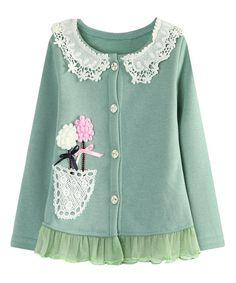 Look at this #zulilyfind! Green Lace Flower Cardigan - Toddler & Girls #zulilyfinds