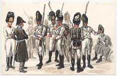 Austrian; Line Infantry, Grenadiers and their Officers from various German Regiments, 1814 by Georg Schaffer based on an original by Johann Adam Klein(1792-1875)
