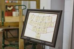 DIY seating chart made with a frame from Goodwill, an easel, scrap lace, red string, mini clothespins, cardstock and foam board. #vintage #wedding