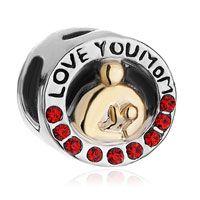Mother and Daughter I Love Mom Red Swarovski Crystal Beads for Charm Bracelet.