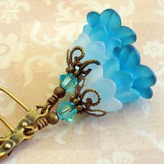 Teal Lucite Flower Earrings, Vintage Inspired, Neo Victorian Jewelry, Brass Floral Earrings, Teal Blue Nested Blossom Earrings