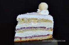 Tort Raffaello cu zmeura - CAIETUL CU RETETE Food Cakes, Vanilla Cake, Cake Recipes, Cooking Recipes, Sweets, Cookies, Desserts, Holidays, Pies