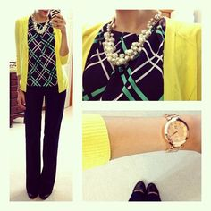 love the color combinations and the accessories! cute and polished outfit