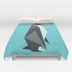 Fractal geometric emperor penguin Duvet Cover by Budi Satria Kwan - $99.00