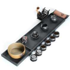 Black stone tea tray, Chinese kungfu tea ware group, China tradition tea culture