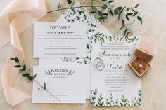 Simple with greenery wedding invitation and ring details - Tavares, Florida