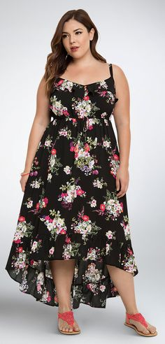 Plus Size Floral Ruffle Hi-Lo Maxi Dress