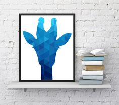 Giraffe print Geometric blue Nursery art by InstantDownloadArt1