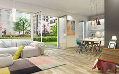 Lichte, hohe Räume mit Deckenhöhen von ca. 2,85 m. Dieses Neubauprojekt bietet hohe Lebensqualität direkt an der Spree.