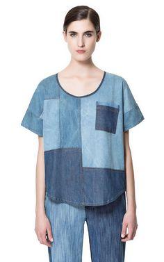 Love this denim patchwork shirt by Zara