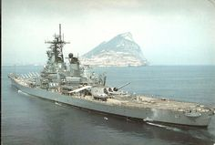 Battleship Iowa passing the rock of Gibralter