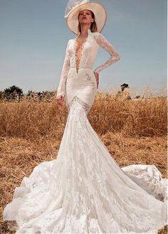 Robe de mariée traîne longue col v manche longue col en v foncé - photo 1