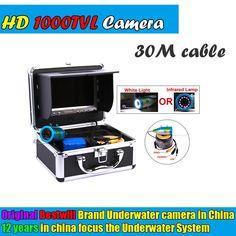 "2017 Original 30m Professional Fishing Camera Underwater Fish Finder 7"" Color Monitor 1000tvl Hd Cam 12pcs White/infrared Led"