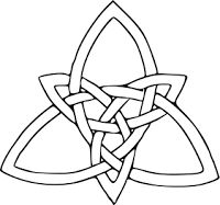 The Trinity Knot (often called the love knot) consists of three points that are interconnected in a triangle. It symbolizes the growth of the spirit, life that is eternal, and love that never ends