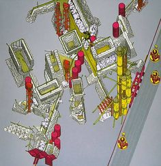 Plug-In City, Axonometric, 1964, Archigram/ Peter Cook