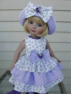 ~Lovely Lavender Dots and Posies~for Ann Estelle 18 Tonner~5 PIECE SET~