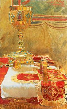 The Proskomedia by Dmitry Belyukin More Orthodox paintings: http://whispersofanimmortalist.blogspot.com/2015/04/orthodox-paintings-i.html