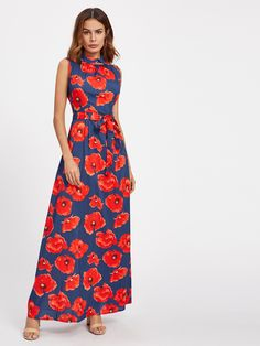 Shop All Over Florals Self Tie Full Length Dress online. SheIn offers All Over Florals Self Tie Full Length Dress & more to fit your fashionable needs.