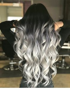 71 most popular ideas for blonde ombre hair color - Hairstyles Trends Black To Silver Ombre, Silver Blonde, Silver Hair, Black White, Color Black, Gray Ombre, Grey Hair Wig, Hair Color For Black Hair, Cool Hair Color