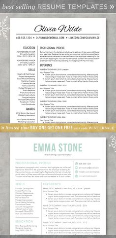 Resume template - CV template for Word. Creative,  customizable, free cover letter. Professional and unique! Teacher. The Olivia, The Emma.