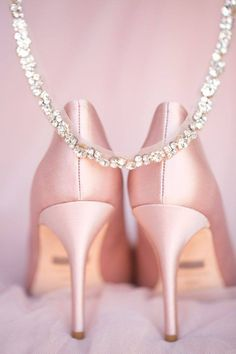 lacarolita: Blush pink satin, diamond studded pumps for the bride Pink Love, Pretty In Pink, Pink Purple, Pale Pink, Magenta, Pink White, Pale Dogwood, Blush Pink Weddings, High Heels