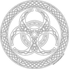 A biohazard symbol in knotwork to print and color in jpg and transparent PNG format
