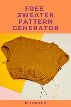 Personalize your next sweater with the free knitting pattern generator by Bellish. Knitting Room, Diy Crochet And Knitting, Knitting Stiches, How To Start Knitting, Loom Knitting, Knitting Patterns Free, Crochet Clothes, Free Knitting, Crochet Stitches
