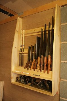 Shop Woodworking Saw Till - First Dovetail Project - Tool Wall Storage, Tool Storage Cabinets, Diy Garage Storage, Workshop Storage, Workshop Organization, Home Workshop, Workshop Ideas, Woodworking Saws, Woodworking Workshop