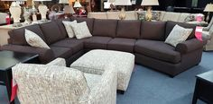 Eye catching sectional, ottoman, and chair from Fusion.