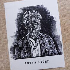 Excited to share the latest addition to my #etsy shop: Twin Peaks - Woodsman / Gotta Light / Got a Light / Hand printed / Lino Cut Print Card #art #printmaking #woodblock #black #birthday #twinpeaks #blockprint #linocut #original