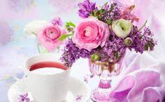 ranunkulyus, liliac, buchet, ceai, vază
