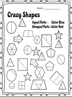 Equal or Unequal Fractions? Look at each set of shapes and