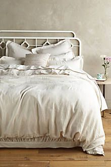 Available in pink/peach color - anthropology - soft-washed linen duvet