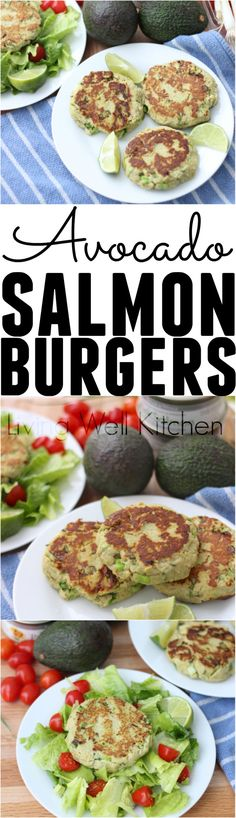 Enjoy these super nutritious, budget friendly Avocado Salmon Burgers for a high protein meal full of heart-healthy fat. Gluten free and dairy free recipe that can be made ahead for lunch or dinner