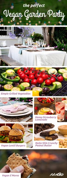 Host the perfect healthy #vegan garden party! Go for soft colors, grilled veggies, vegan burgers, and a refreshing strawberry lemonade! Finish the night off with a fire, sparklers, and delicious desserts.