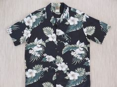f58620d28974 Hawaiian Shirt WINNIE FASHION Hibiscus Vintage Aloha Surfer Beach Party  White Flowers Tropical Black Mens Camp - XL - Oahu Lew s Shirt Shack