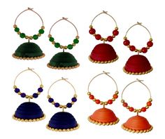 Green, Red, Blue and Orange Handmade Paper Jewellery Quilled earrings Jhumka - Tia Women jewellery