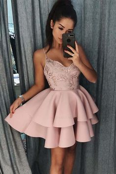 Short Homecoming Dress Spaghetti Straps Tiered Pink Satin Homecoming Dress With Sequins - Homecoming Dresses - Pink Evening Dress, Pink Dress, Evening Dresses, Dress Lace, Dusty Rose Dress, Cheap Homecoming Dresses, Hoco Dresses, Graduation Dresses, Casual Dresses