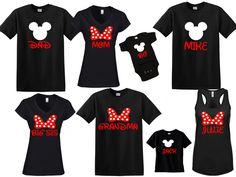 DISNEY Mickey & Minnie Disneyland Disneyworld family trip vacation - matching shirts tshirts with custom names by jennisita328 on Etsy https://www.etsy.com/listing/385458200/disney-mickey-minnie-disneyland