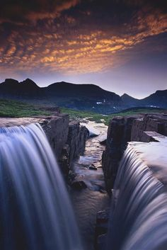 Double falls at dawn, Glacier National Park, Montana