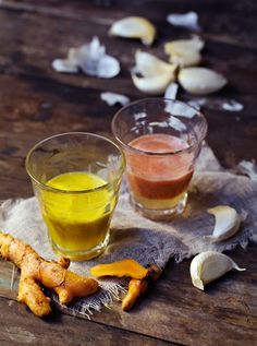 Recipes for turmeric and gazpacho shots from the book Superjuicy!
