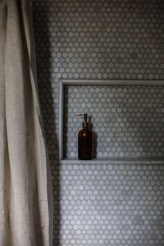 """Tara Mangini and Percy Bright of Jersey Ice Cream Co., Design*Sponge Sneak Peek. """"Built-in shower shelves are a serious must."""""""