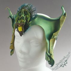 faerie head dress | Sculpted Leather Crown - Olive Green Elven Headdress with Vintage ...