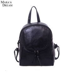 Mara's Dream 2017 New Schoolbag Washed PU Leather Solid Color Black Zipper Backpack Woman Travel Bag Boutique backpacks