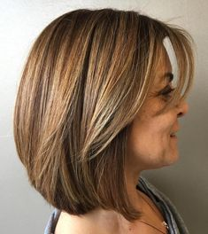 Lob with Swoopy Bangs for Thick Hair