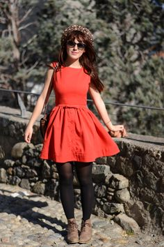orange dress and brown shoes