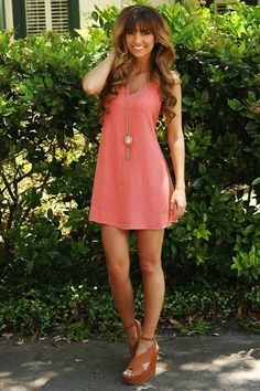 Pick Up The Pieces Dress: Coral | so cute