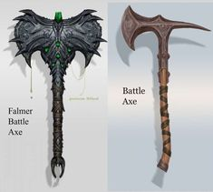 Falmer Battle Axe concept art from The Elder Scrolls V: Skyrim by Adam Adamowicz