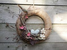 Cute Spring wreath with bird nest eggs flowers Easter Diy Wreath, Grapevine Wreath, Door Wreaths, Hessian Wreaths, Twisted Tree, Halloween Door Decorations, Easter Wreaths, Spring Crafts, Craft Items